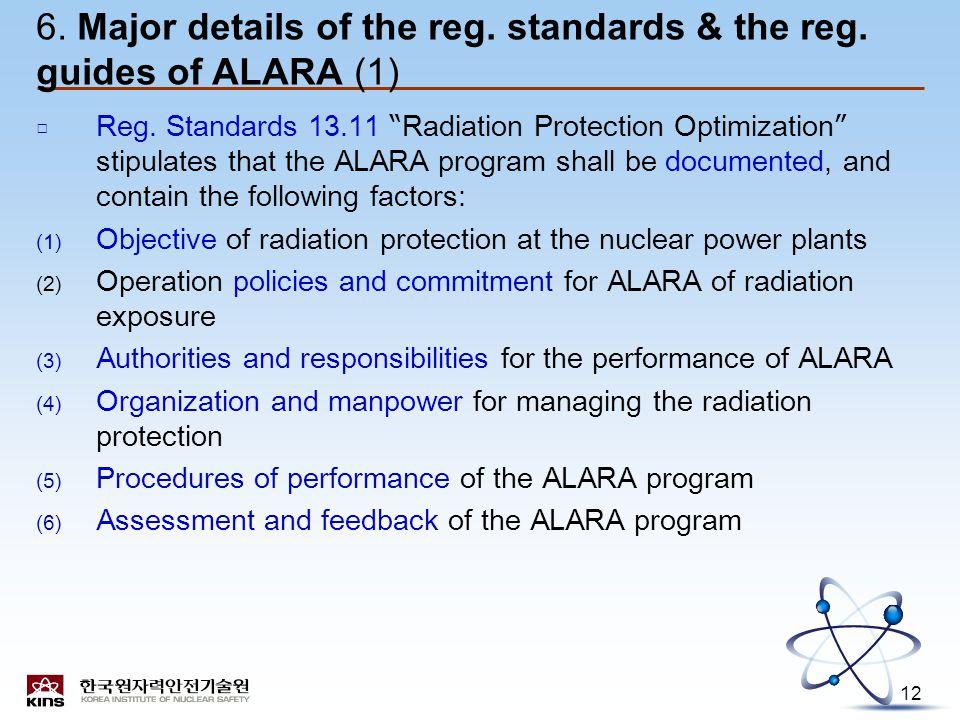 12 6. Major details of the reg. standards & the reg.