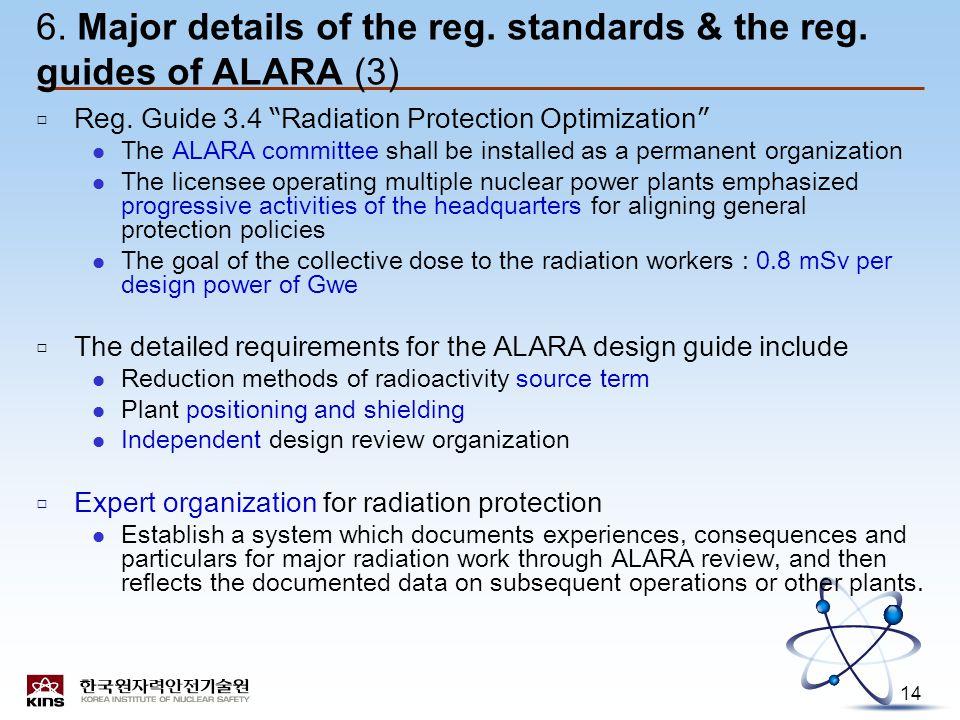 14 6. Major details of the reg. standards & the reg.