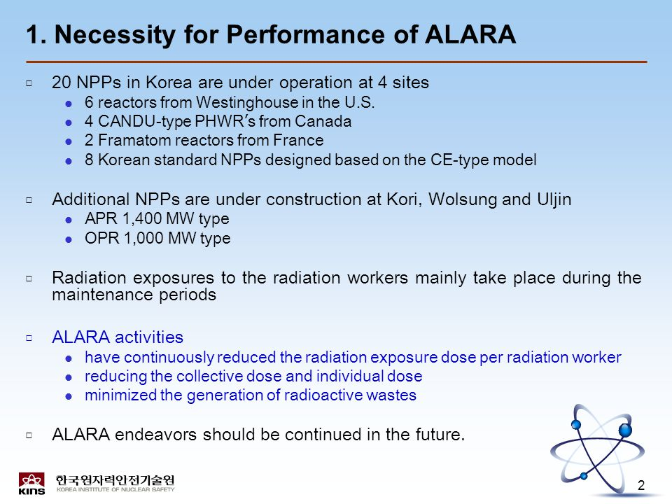 2 1. Necessity for Performance of ALARA □ 20 NPPs in Korea are under operation at 4 sites 6 reactors from Westinghouse in the U.S. 4 CANDU-type PHWR '