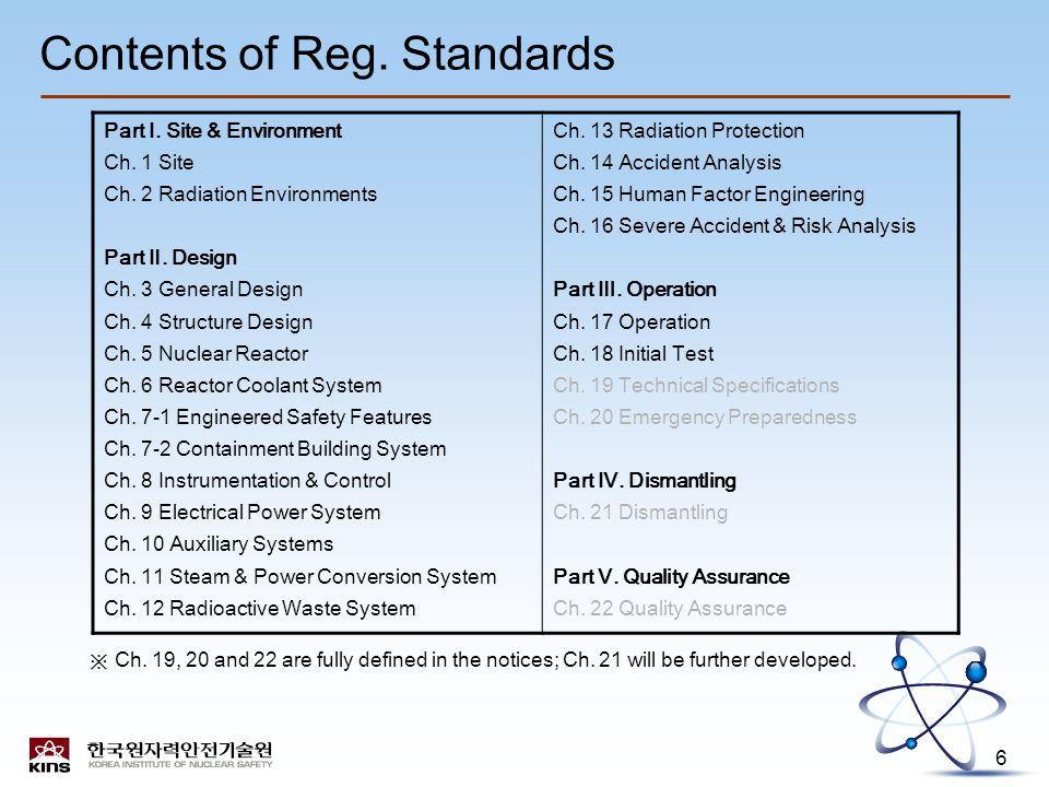 6 Contents of Reg. Standards Part Ⅰ. Site & Environment Ch.