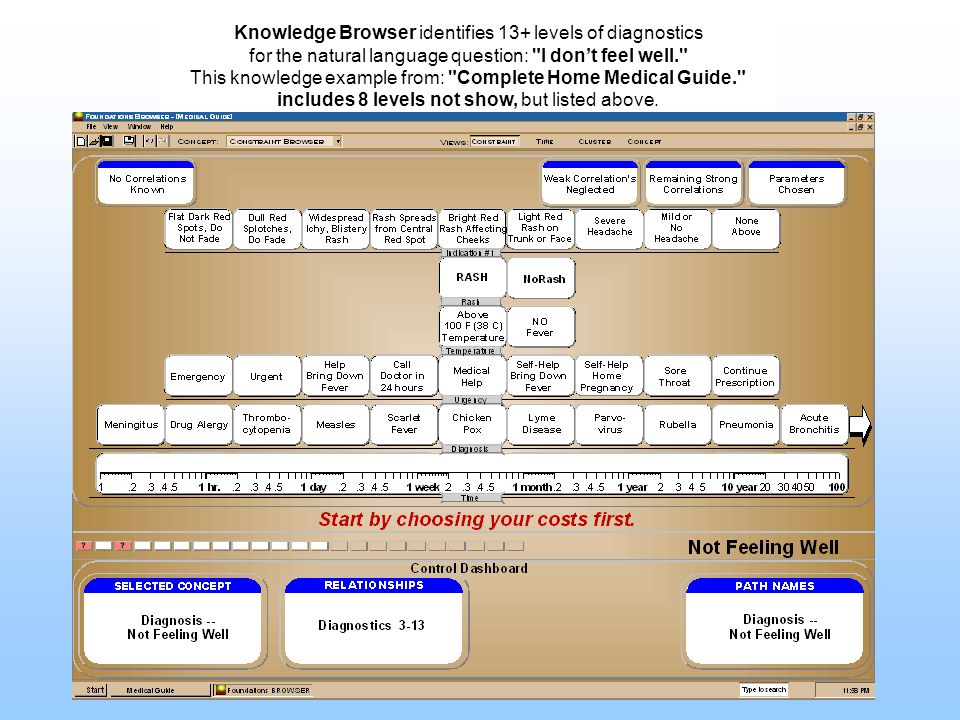 Knowledge Browser identifies 13+ levels of diagnostics for the natural language question: