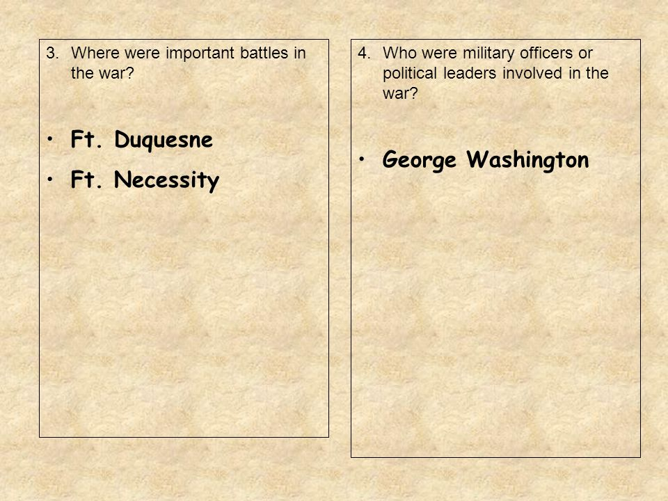 3.Where were important battles in the war? Ft. Duquesne Ft. Necessity 4.Who were military officers or political leaders involved in the war? George Wa