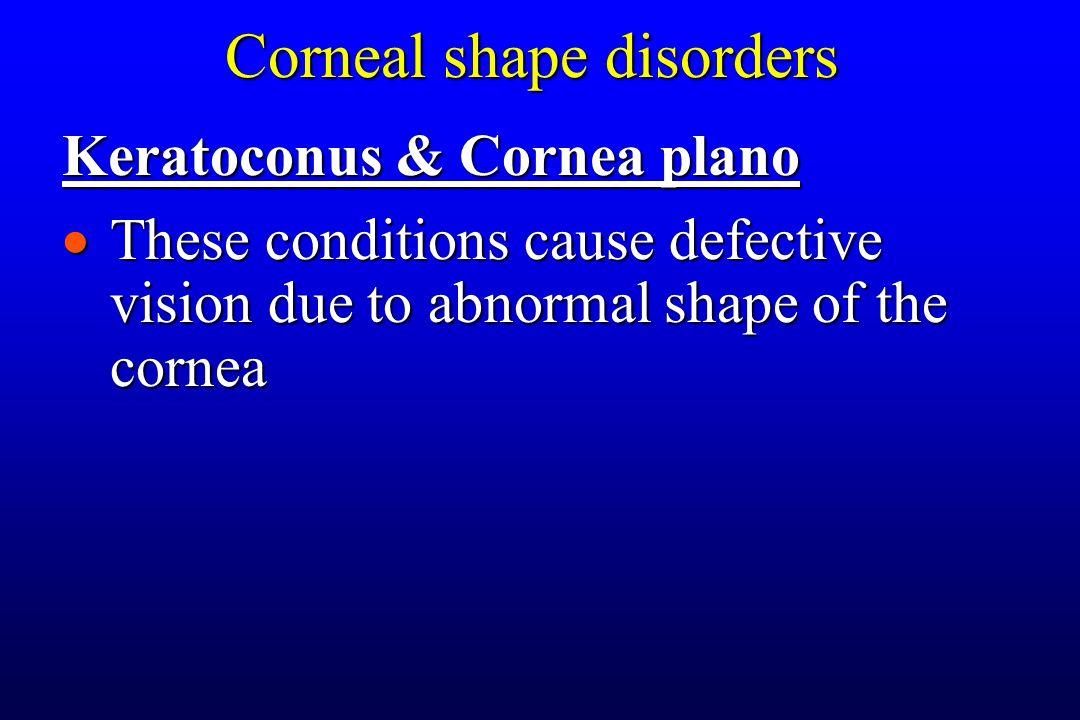 Corneal shape disorders Keratoconus & Cornea plano  These conditions cause defective vision due to abnormal shape of the cornea