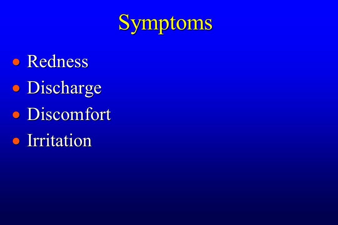  Redness  Discharge  Discomfort  Irritation Symptoms
