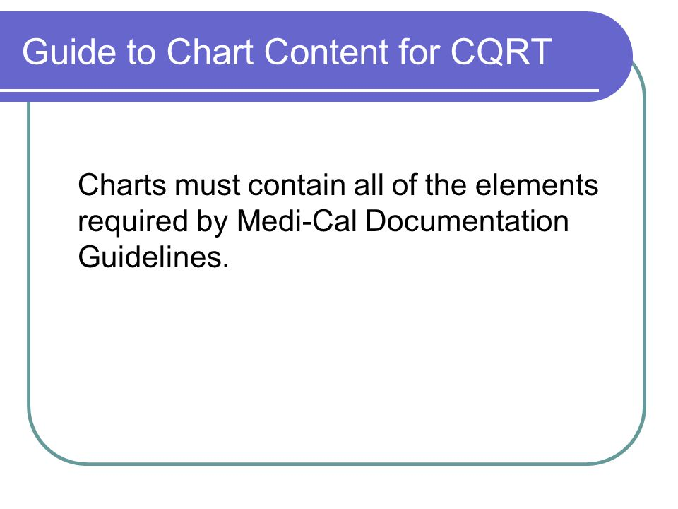 Guide to Chart Content for CQRT Charts must contain all of the elements required by Medi-Cal Documentation Guidelines.