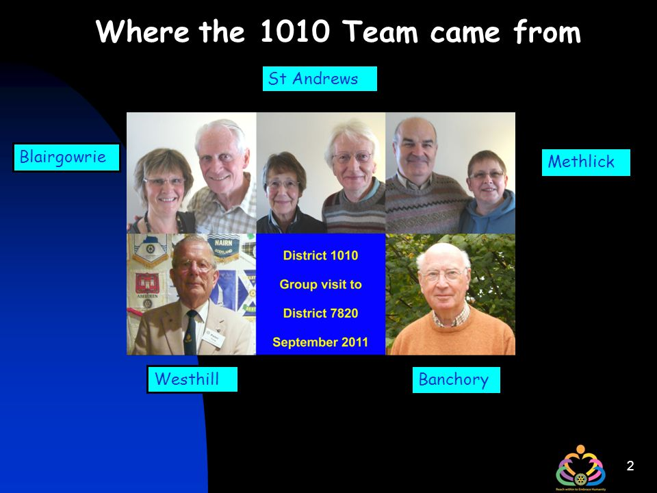 2 Where the 1010 Team came from Methlick Banchory St Andrews Blairgowrie Westhill