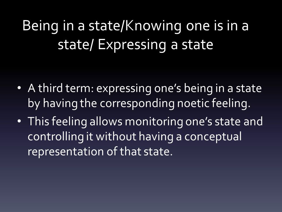 Being in a state/Knowing one is in a state/ Expressing a state A third term: expressing one's being in a state by having the corresponding noetic feeling.