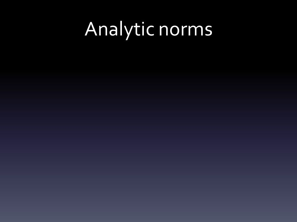 Analytic norms
