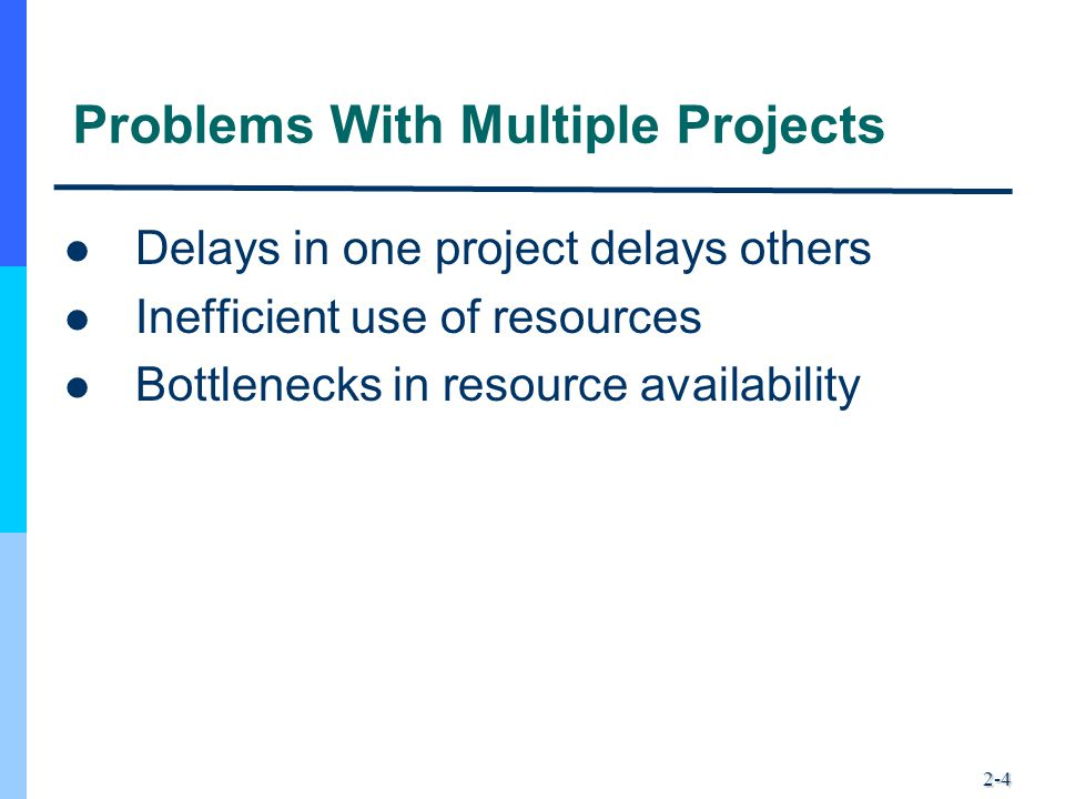 2-4 Problems With Multiple Projects Delays in one project delays others Inefficient use of resources Bottlenecks in resource availability