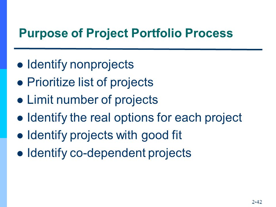 2-42 Purpose of Project Portfolio Process Identify nonprojects Prioritize list of projects Limit number of projects Identify the real options for each