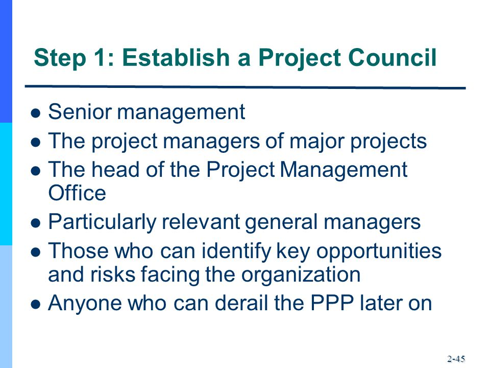 2-45 Step 1: Establish a Project Council Senior management The project managers of major projects The head of the Project Management Office Particular