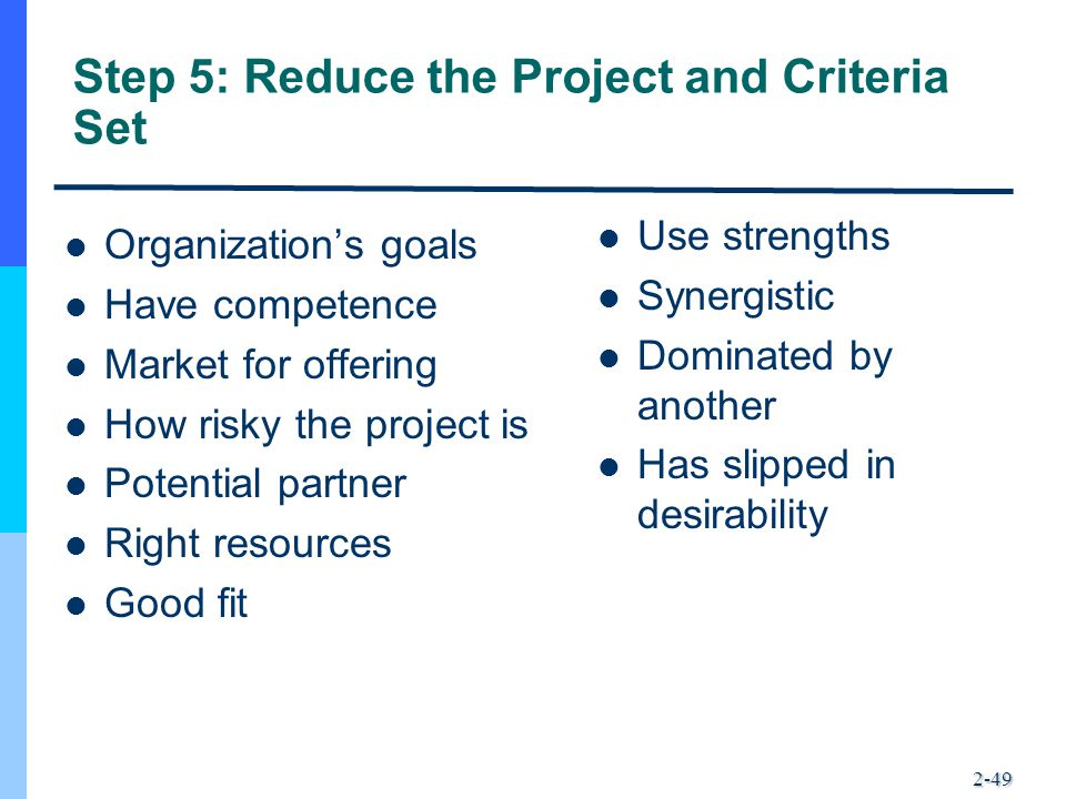 2-49 Step 5: Reduce the Project and Criteria Set Organization's goals Have competence Market for offering How risky the project is Potential partner R