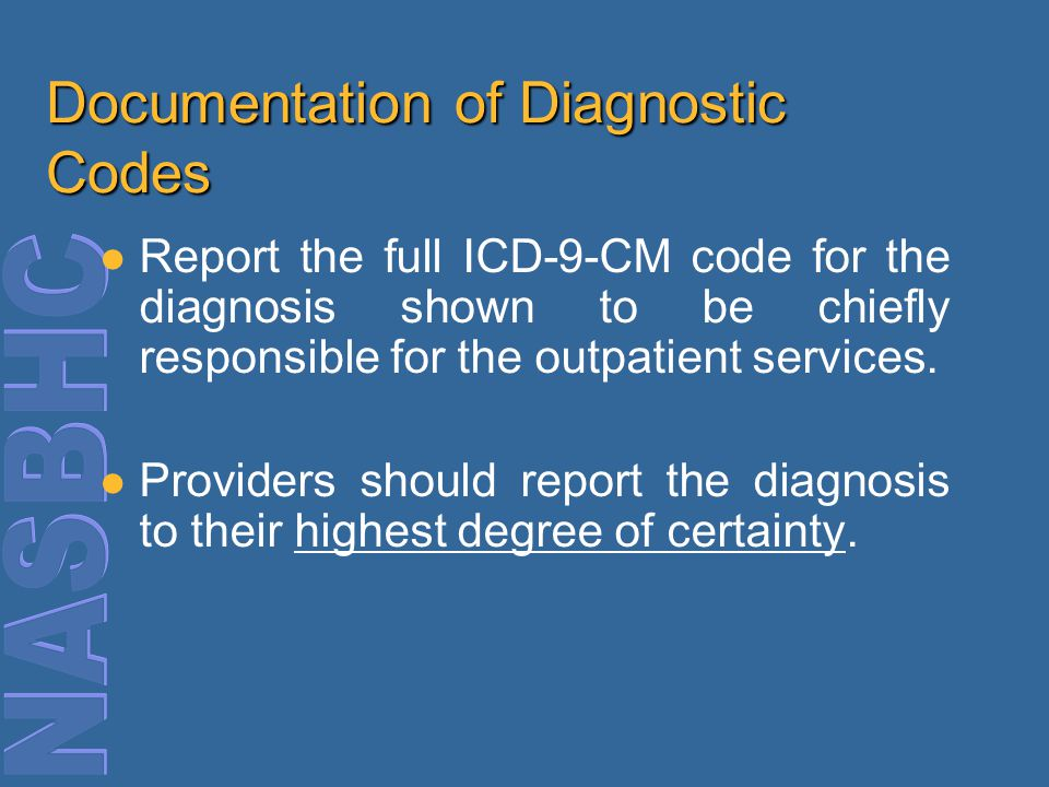 Documentation of Diagnostic Codes Report the full ICD-9-CM code for the diagnosis shown to be chiefly responsible for the outpatient services.