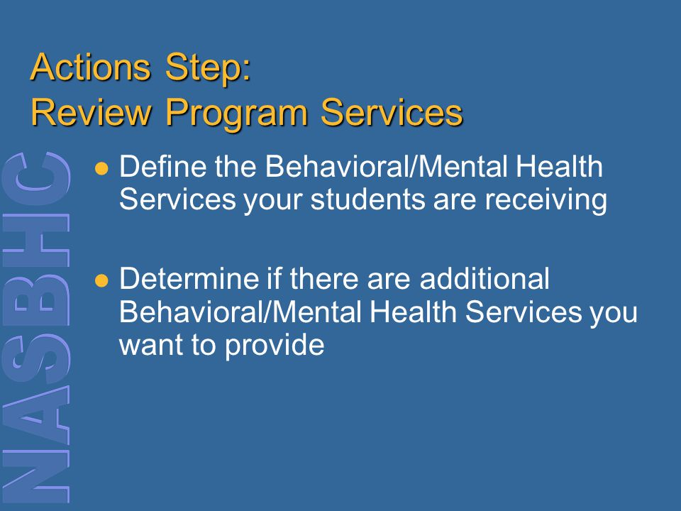 Actions Step: Review Program Services Define the Behavioral/Mental Health Services your students are receiving Determine if there are additional Behavioral/Mental Health Services you want to provide