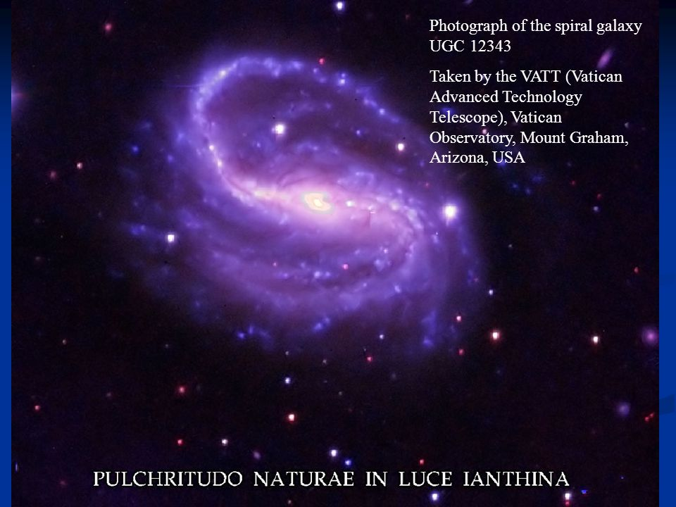 Photograph of the spiral galaxy UGC 12343 Taken by the VATT (Vatican Advanced Technology Telescope), Vatican Observatory, Mount Graham, Arizona, USA
