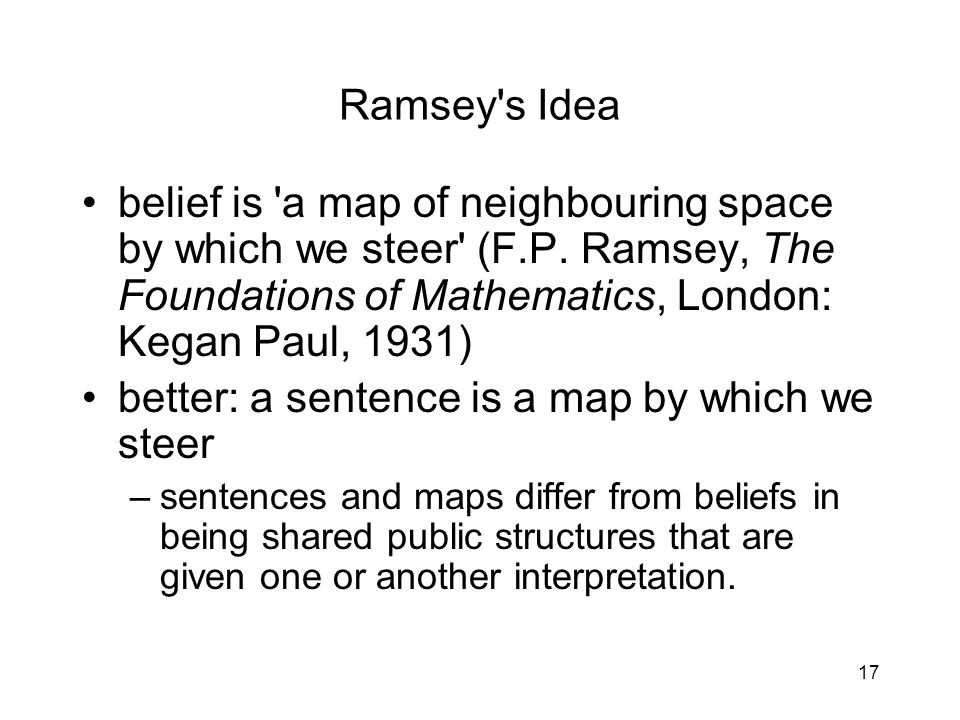 17 Ramsey s Idea belief is a map of neighbouring space by which we steer (F.P.
