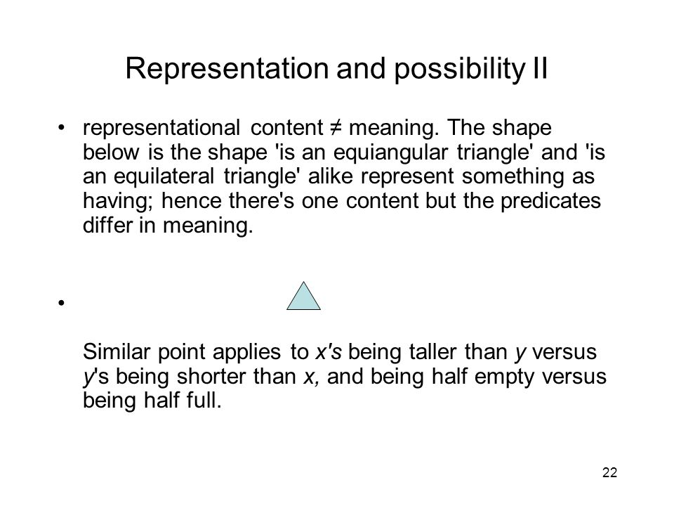 22 Representation and possibility II representational content ≠ meaning.