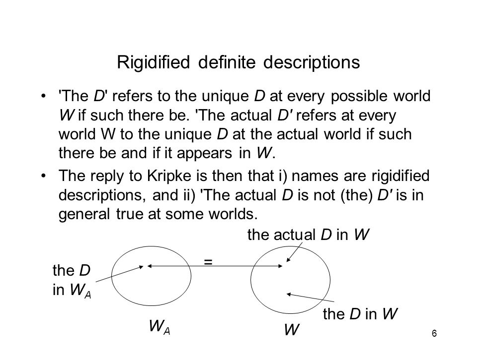 6 Rigidified definite descriptions The D refers to the unique D at every possible world W if such there be.