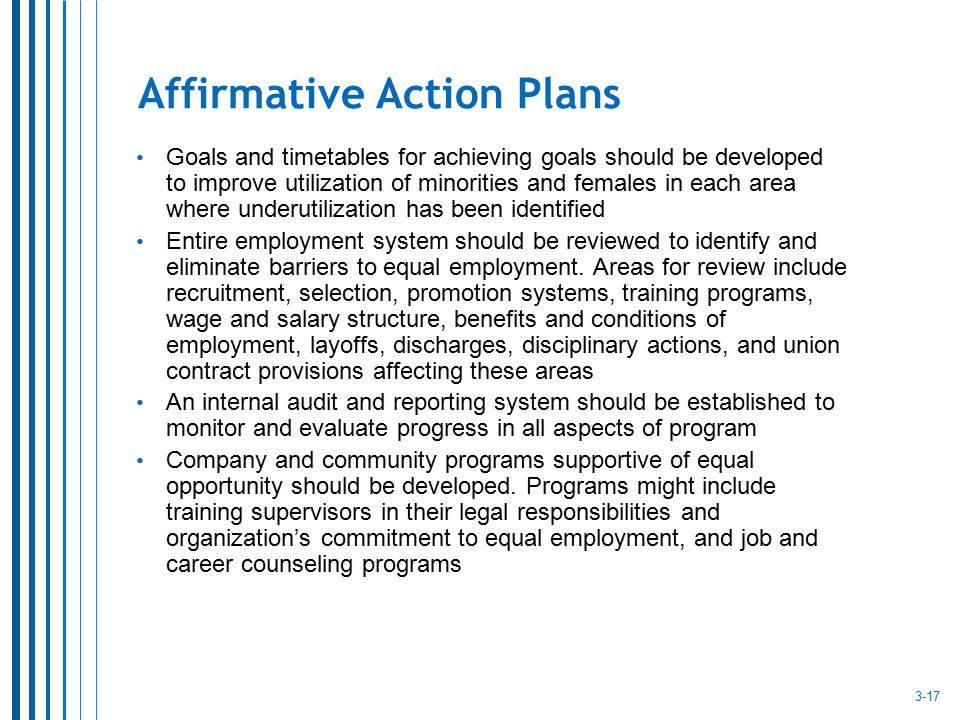 Affirmative Action Plans Goals and timetables for achieving goals should be developed to improve utilization of minorities and females in each area wh