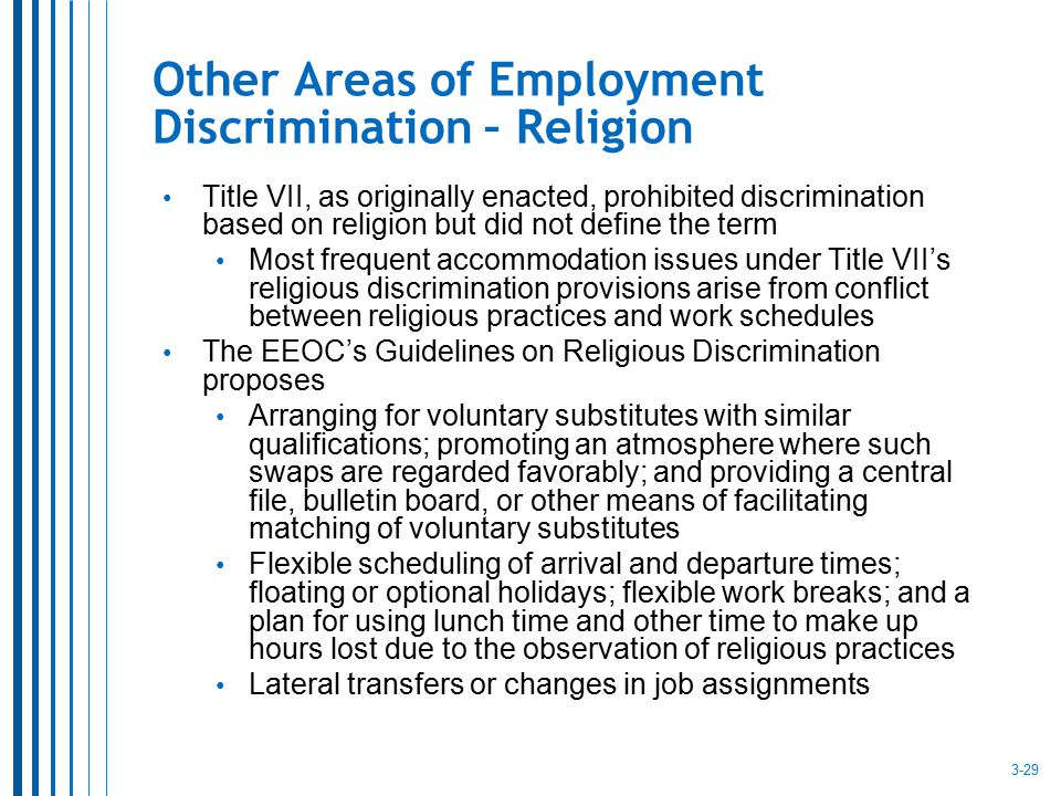 Other Areas of Employment Discrimination – Religion Title VII, as originally enacted, prohibited discrimination based on religion but did not define t