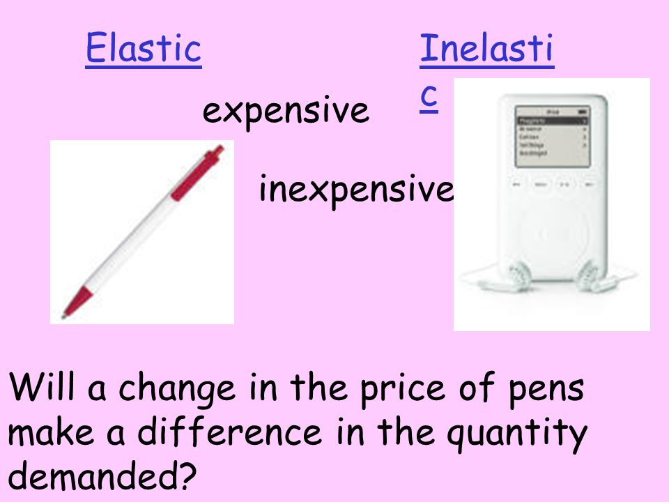 ElasticInelasti c inexpensive Will a change in the price of pens make a difference in the quantity demanded.