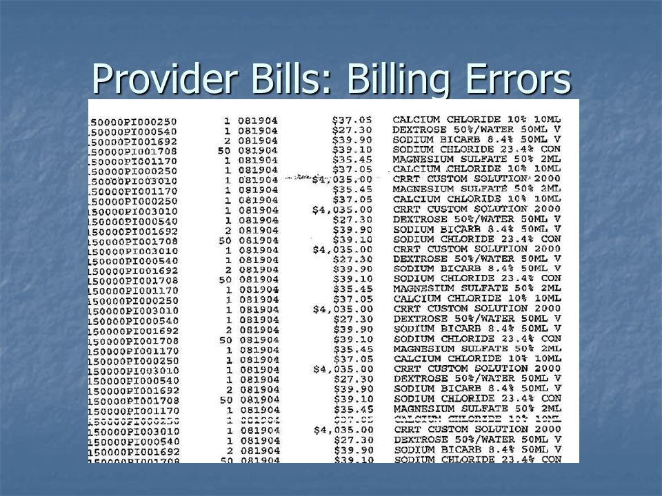 Provider Bills: Billing Errors