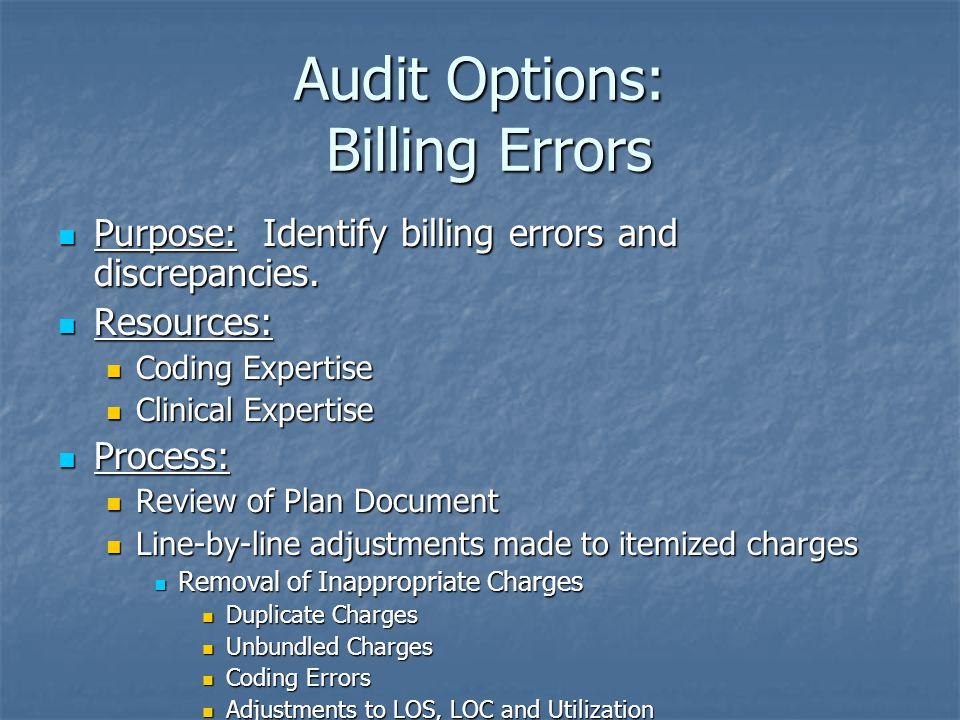 Audit Options: Billing Errors Purpose: Identify billing errors and discrepancies.