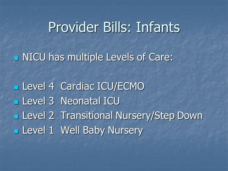 Provider Bills: Infants NICU has multiple Levels of Care: NICU has multiple Levels of Care: Level 4 Cardiac ICU/ECMO Level 4 Cardiac ICU/ECMO Level 3 Neonatal ICU Level 3 Neonatal ICU Level 2 Transitional Nursery/Step Down Level 2 Transitional Nursery/Step Down Level 1 Well Baby Nursery Level 1 Well Baby Nursery