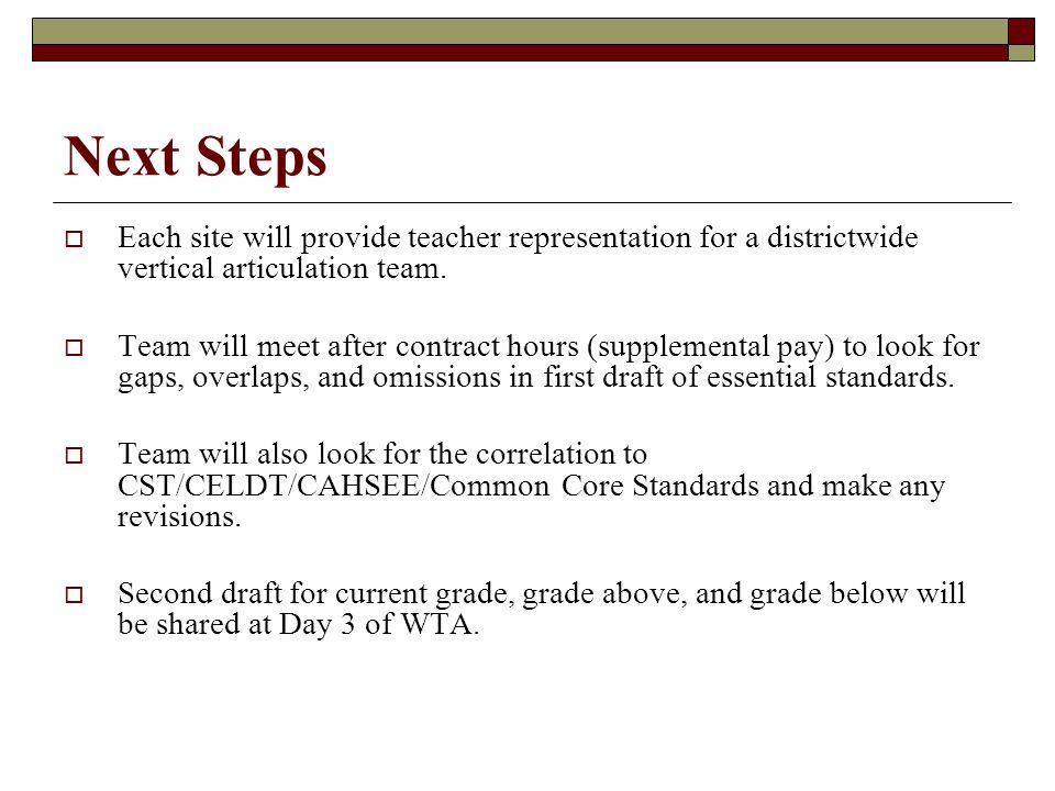 Next Steps  Each site will provide teacher representation for a districtwide vertical articulation team.