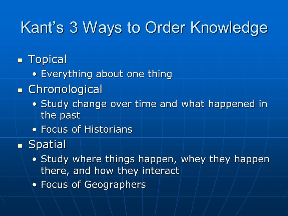 Kant's 3 Ways to Order Knowledge Topical Topical Everything about one thingEverything about one thing Chronological Chronological Study change over time and what happened in the pastStudy change over time and what happened in the past Focus of HistoriansFocus of Historians Spatial Spatial Study where things happen, whey they happen there, and how they interactStudy where things happen, whey they happen there, and how they interact Focus of GeographersFocus of Geographers