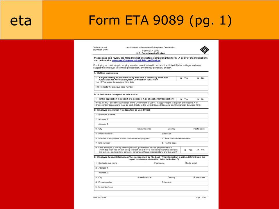 eta Form ETA 9089 (pg. 1)