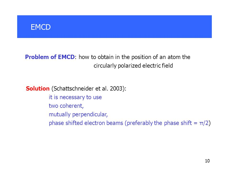 10 EMCD Problem of EMCD: how to obtain in the position of an atom the circularly polarized electric field Solution (Schattschneider et al.
