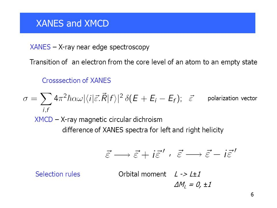 6 XANES and XMCD Crosssection of XANES polarization vector XANES – X-ray near edge spectroscopy Transition of an electron from the core level of an atom to an empty state XMCD – X-ray magnetic circular dichroism difference of XANES spectra for left and right helicity Selection rulesOrbital moment L -> L±1 ΔM L = 0, ±1,