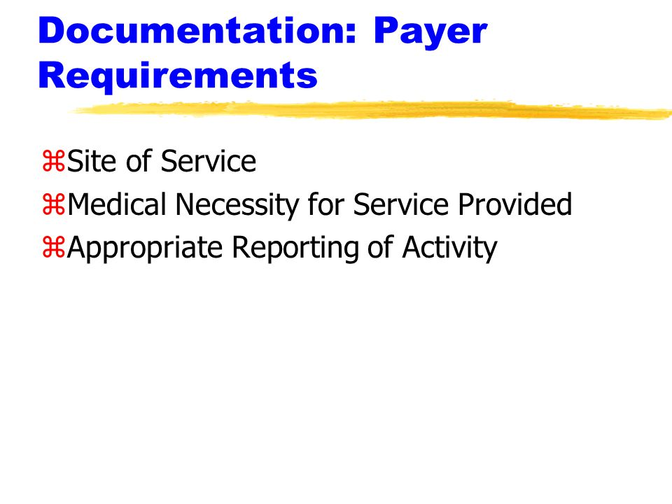 Documentation: Payer Requirements zSite of Service zMedical Necessity for Service Provided zAppropriate Reporting of Activity