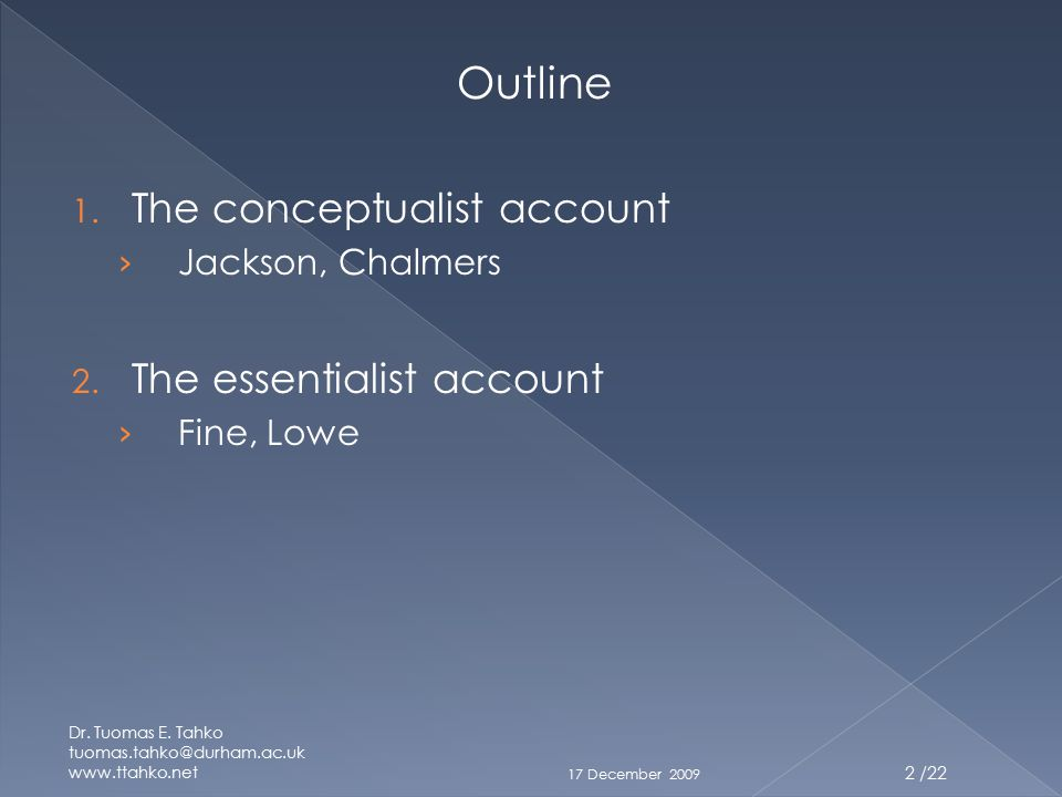 Outline 1. The conceptualist account › Jackson, Chalmers 2.