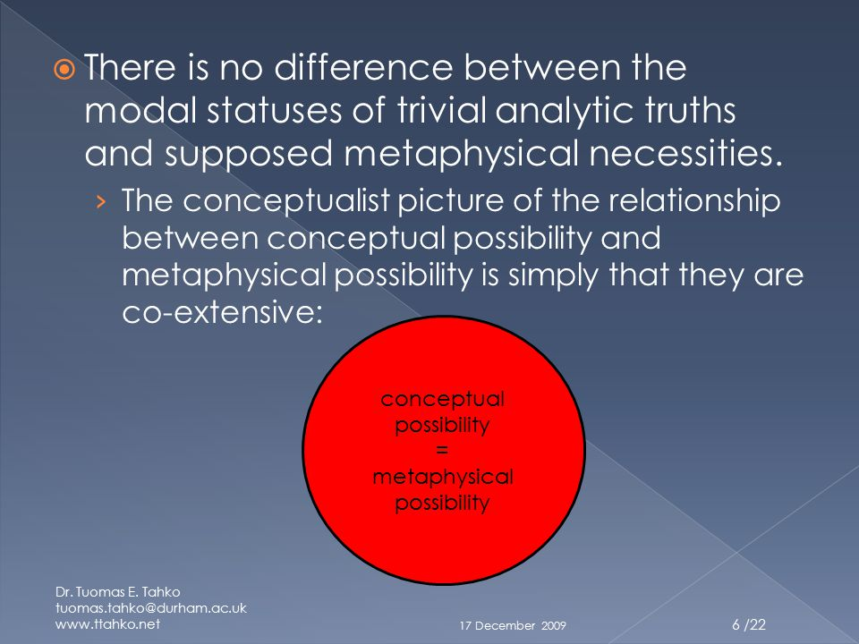  There is no difference between the modal statuses of trivial analytic truths and supposed metaphysical necessities.