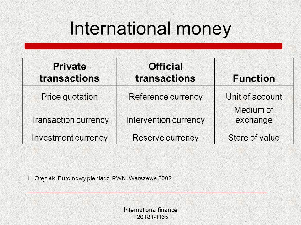International finance 120181-1165 International money L. Oręziak, Euro nowy pieniądz, PWN, Warszawa 2002. Private transactions Official transactionsFu