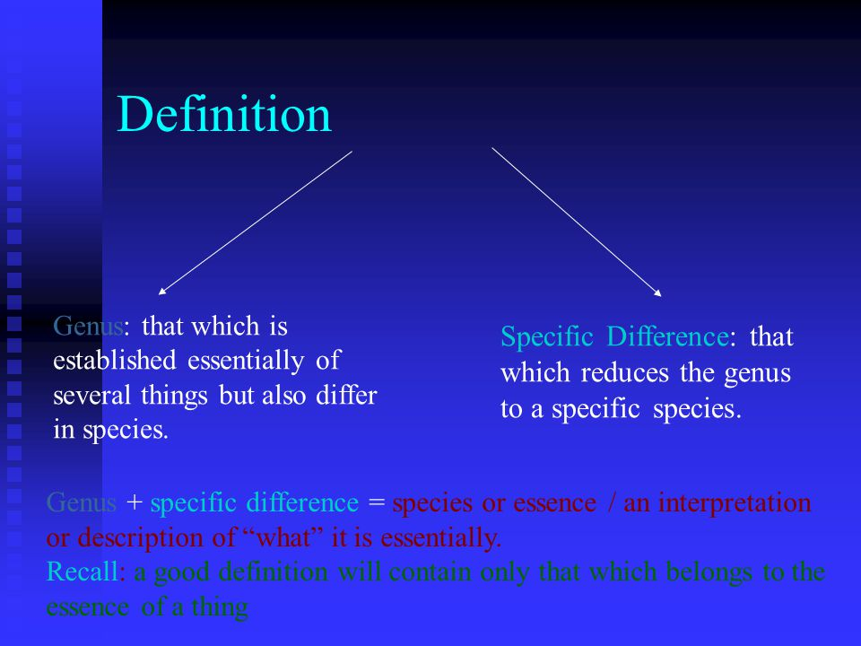Definition Genus: that which is established essentially of several things but also differ in species.