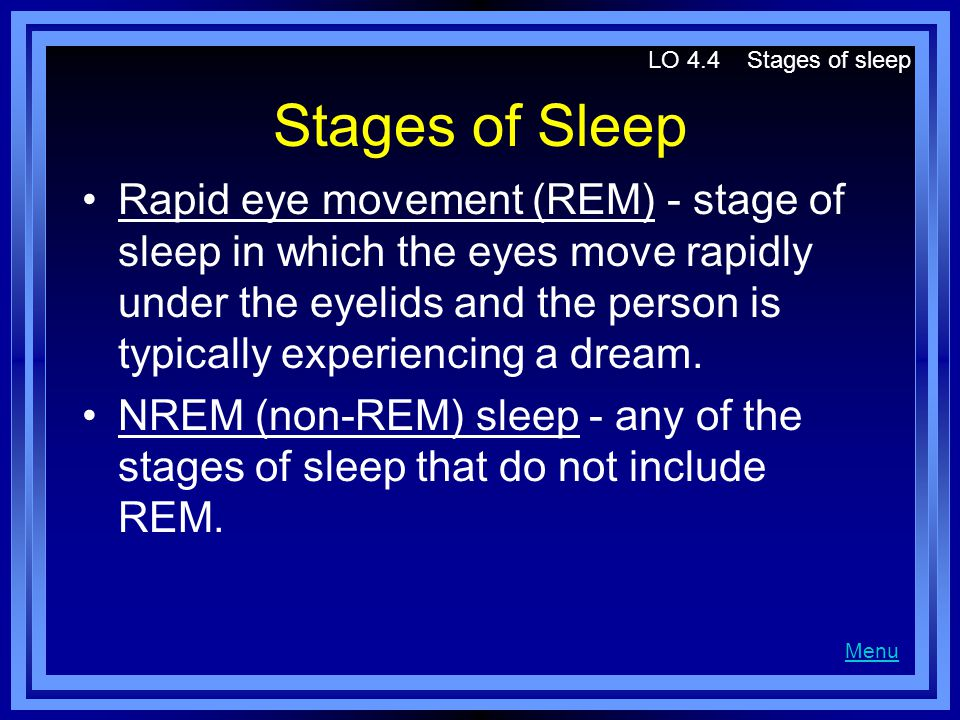 Stages of Sleep Rapid eye movement (REM) - stage of sleep in which the eyes move rapidly under the eyelids and the person is typically experiencing a dream.