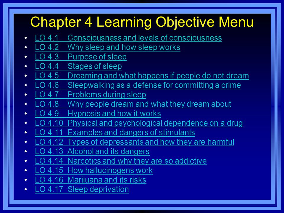Chapter 4 Learning Objective Menu LO 4.1 Consciousness and levels of consciousness LO 4.2 Why sleep and how sleep works LO 4.3 Purpose of sleep LO 4.4 Stages of sleep LO 4.5 Dreaming and what happens if people do not dream LO 4.6 Sleepwalking as a defense for committing a crime LO 4.7 Problems during sleep LO 4.8 Why people dream and what they dream about LO 4.9 Hypnosis and how it works LO 4.10 Physical and psychological dependence on a drug LO 4.11 Examples and dangers of stimulants LO 4.12 Types of depressants and how they are harmful LO 4.13 Alcohol and its dangers LO 4.14 Narcotics and why they are so addictive LO 4.15 How hallucinogens work LO 4.16 Marijuana and its risks LO 4.17 Sleep deprivation