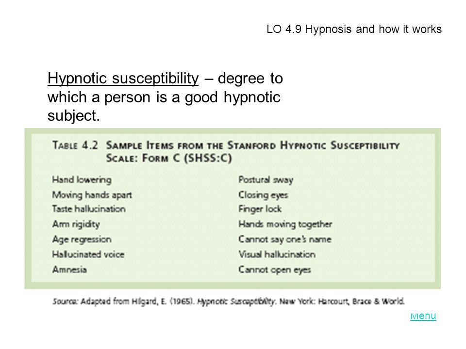 LO 4.9 Hypnosis and how it works Hypnotic susceptibility – degree to which a person is a good hypnotic subject.