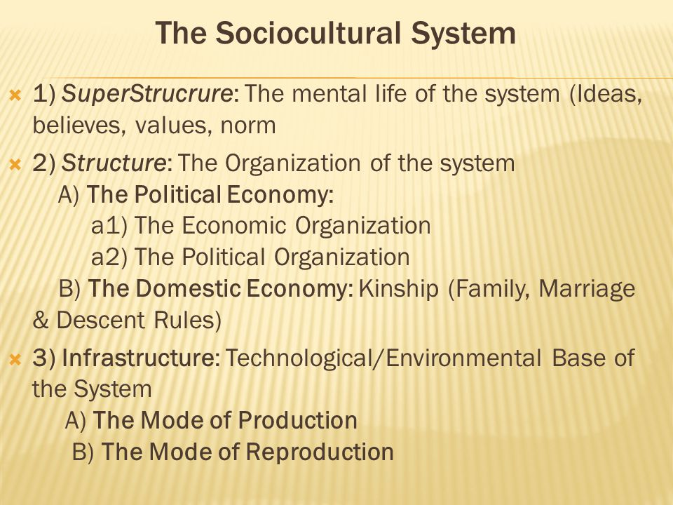 The Sociocultural System  1) SuperStrucrure: The mental life of the system (Ideas, believes, values, norm  2) Structure: The Organization of the system A) The Political Economy: a1) The Economic Organization a2) The Political Organization B) The Domestic Economy: Kinship (Family, Marriage & Descent Rules)  3) Infrastructure: Technological/Environmental Base of the System A) The Mode of Production B) The Mode of Reproduction