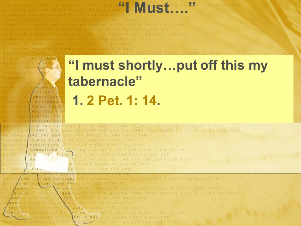 """I Must…."" ""I must shortly…put off this my tabernacle"" 1. 2 Pet. 1: 14. ""I must shortly…put off this my tabernacle"" 1. 2 Pet. 1: 14."