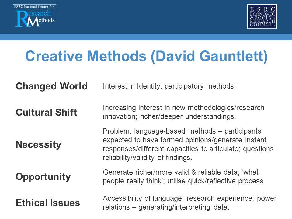 Creative Methods (David Gauntlett) Changed World Interest in Identity; participatory methods. Cultural Shift Increasing interest in new methodologies/