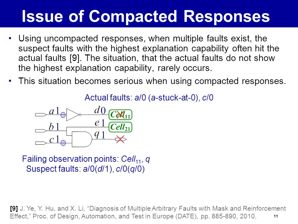 11 Issue of Compacted Responses Using uncompacted responses, when multiple faults exist, the suspect faults with the highest explanation capability often hit the actual faults [9].