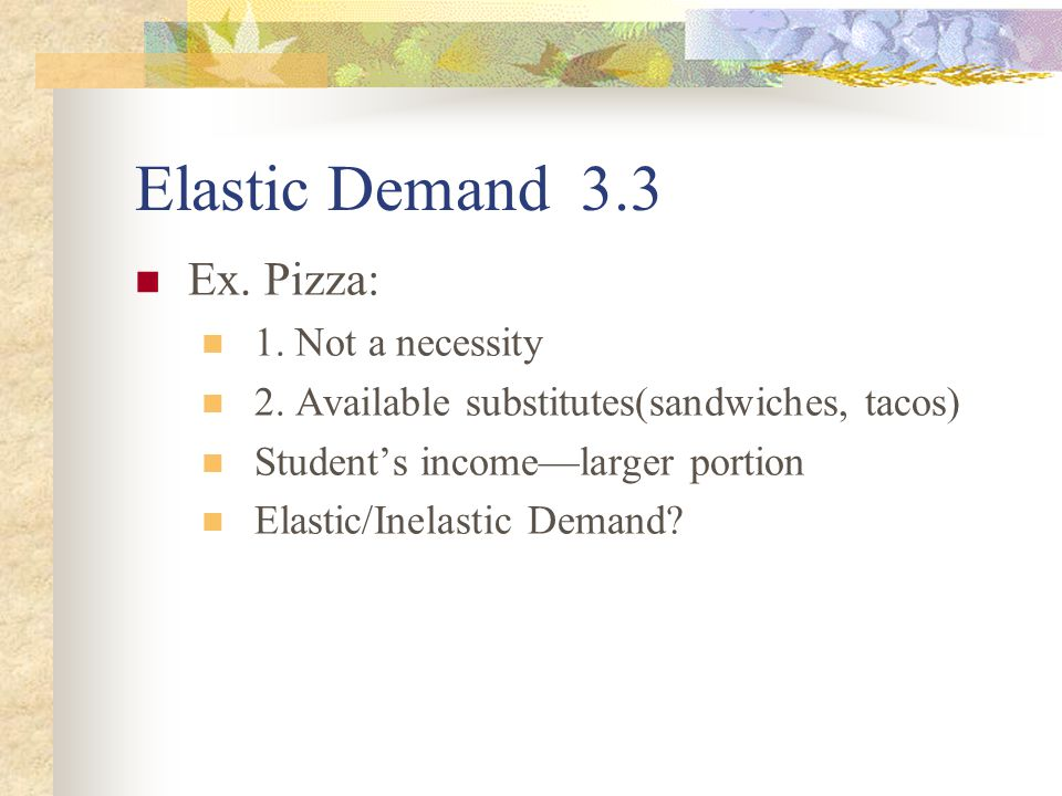 Inelastic Demand 3.3 Inelastic Demand—Exists when a change in a good's price has little impact on the quantity demanded.