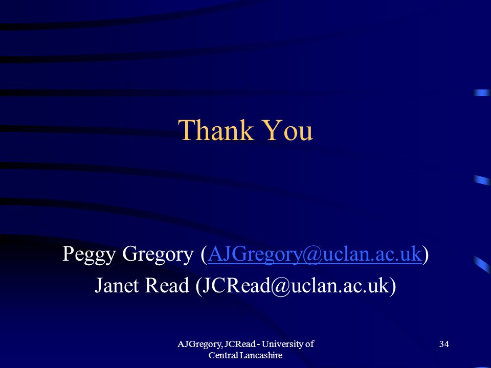 AJGregory, JCRead - University of Central Lancashire 34 Thank You Peggy Gregory (AJGregory@uclan.ac.uk)AJGregory@uclan.ac.uk Janet Read (JCRead@uclan.