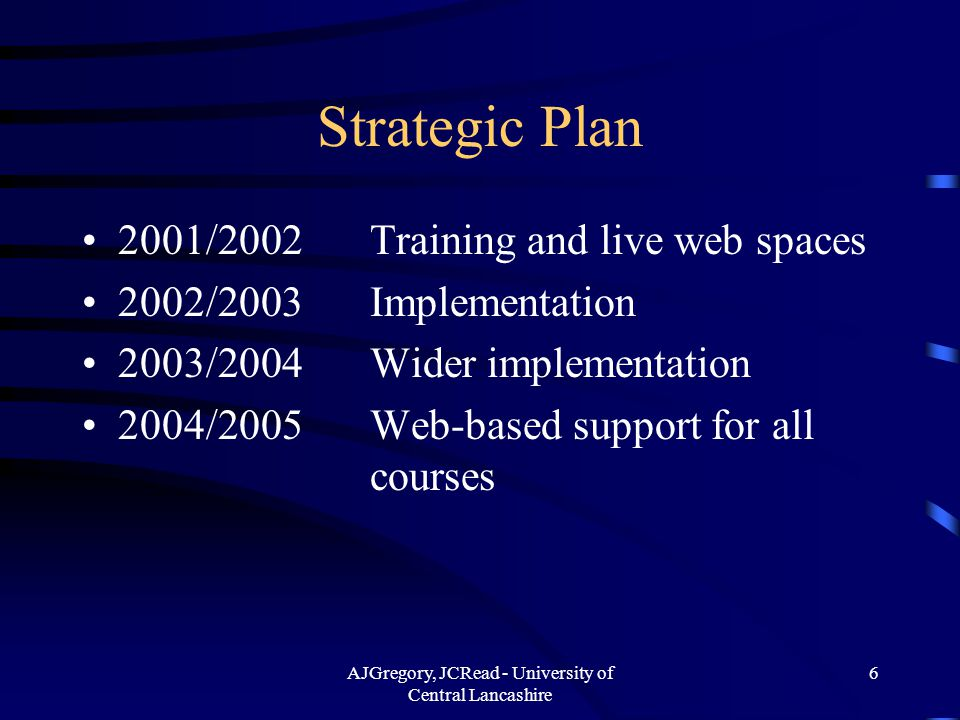 AJGregory, JCRead - University of Central Lancashire 6 Strategic Plan 2001/2002Training and live web spaces 2002/2003Implementation 2003/2004Wider implementation 2004/2005Web-based support for all courses