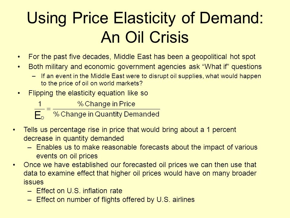 Using Price Elasticity of Demand: An Oil Crisis For the past five decades, Middle East has been a geopolitical hot spot Both military and economic government agencies ask What if questions –If an event in the Middle East were to disrupt oil supplies, what would happen to the price of oil on world markets.