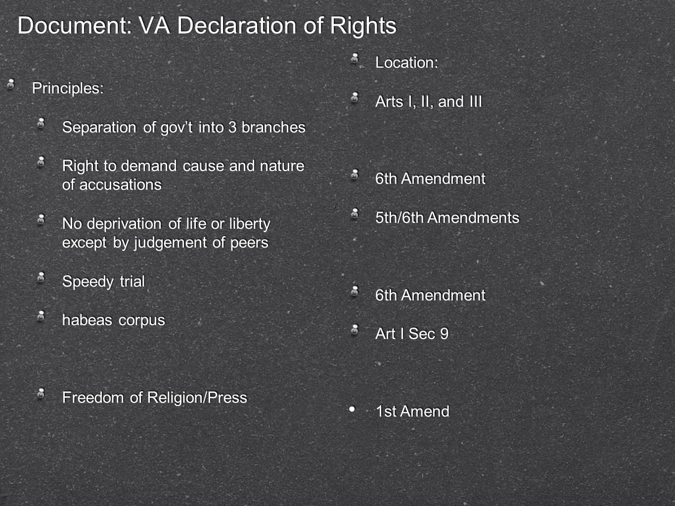 Document: VA Declaration of Rights Principles: Separation of gov't into 3 branches Right to demand cause and nature of accusations No deprivation of l